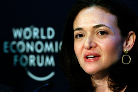 Facebook Chief Operating Officer Sheryl Sandberg speaks during a session at the World Economic Forum (WEF) in Davos