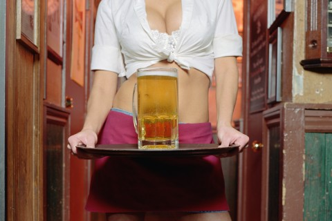 Waitress and beer