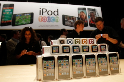 Apple's new iPod Shuffle, iPod Nano and iPod Touch, are displayed at Apple's music-themed September media event in San Francisco