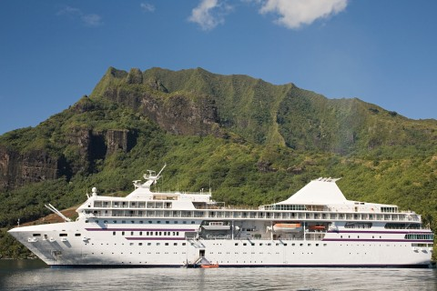 A cruise ship in moorea harbour