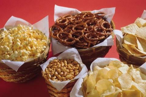 Baskets of chips, pretzels, other snacks