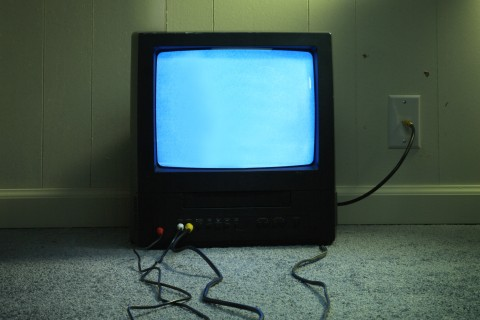 Old TV with cables