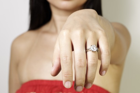 Woman shows off engagement ring