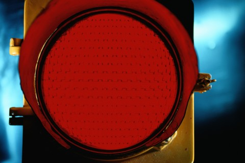 Red Traffic Light Close-Up