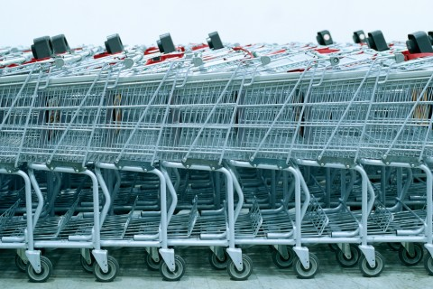 Row of shopping carts, side view