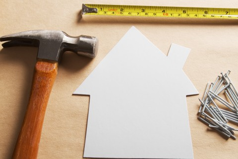 Home improvement, blank house with tools