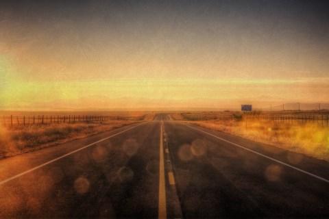 Open road at sunrise