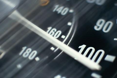 CAR SPEEDOMETER, OVER 100 MILES PER HOUR