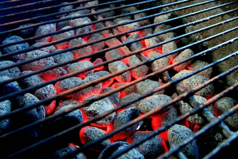 Hot burning charcoal on barbecue