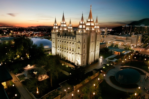 The Salt Lake Mormon Temple in Salt Lake City, Utah.