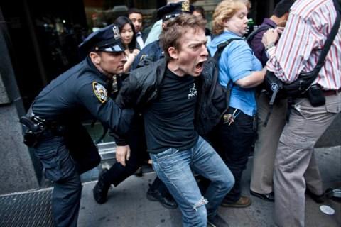 Occupy Wall Street one year anniversay in Lower Manhttan