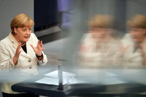 German Chancellor Angela Merkel gives a speech