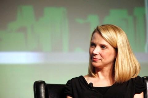 Yahoo! CEO Mayer listens during TechCrunch Disrupt SF 2012 in San Francisco