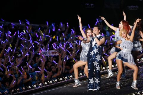 Singer Psy performs during his concert in Seoul