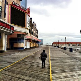 image: An empty boardwalk in New Jersey near the onset of Hurricane Sandy