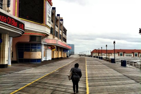 image: An empty boardwalk in New Jersey near the onset of Hurricane Sandy