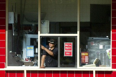 The drive-thru window at a Burger King restaurant in Hawaii.