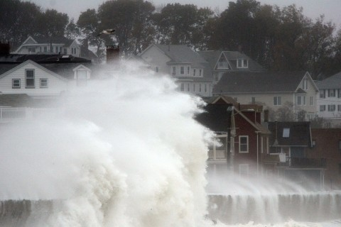 Waves crash over Winthrop Shore Drive as Hurricane Sandy comes up the coast on Oct. 29, 2012 in Winthrop, Mass.