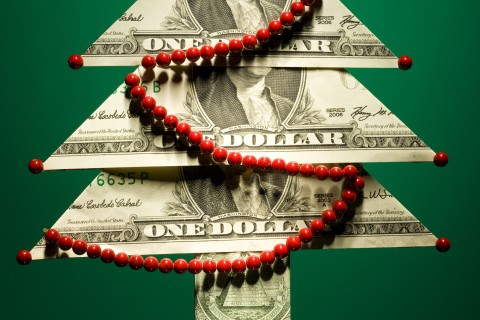 christmas tree made of money