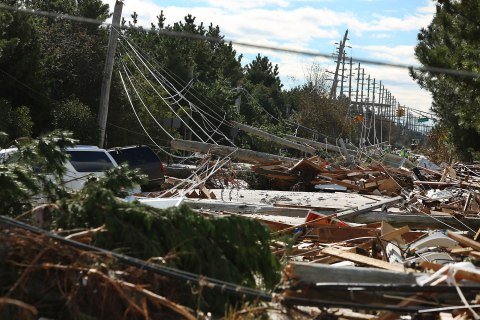 A view of Route 35 through Mantoloking, NJ in the aftermath of Hurricane Sandy Oct 31, 2012.