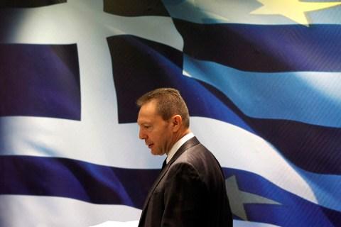 Greek Finance Minister Yannis Stournaras News Conference