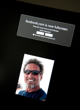 Image from the Facebook page belonging to John McAfee on Nov. 13, 2012 in Washington, DC.