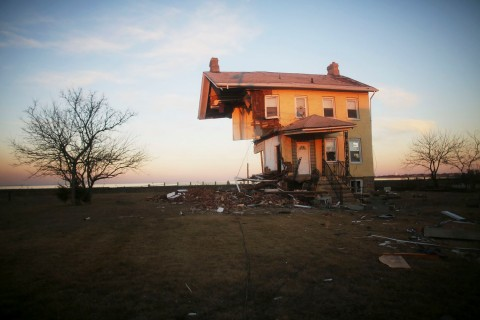 The iconic Princess Cottage, built in 1855, remains standing after being ravaged by flooding in Union Beach, N.J., on Nov. 21, 2012