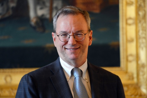 Google's Executive Chairman Eric Schmidt poses prior to a meeting at the Culture Ministry in Paris