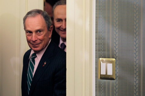 New York City Mayor Michael Bloomberg and Senator Charles Schumer  arrive at a joint news conference on Hurricane Sandy Federal Aid Request on Capitol Hill