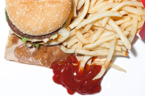 image: French fries and hamburger