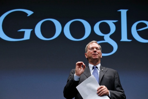 Google Executive Chairman Schmidt speaks at a promotional event for Nexus 7 tablet in Tokyo
