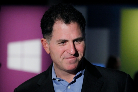 Michael Dell Chairman and CEO of Dell Inc arrives for the launch event of Windows 8 operating system in New York