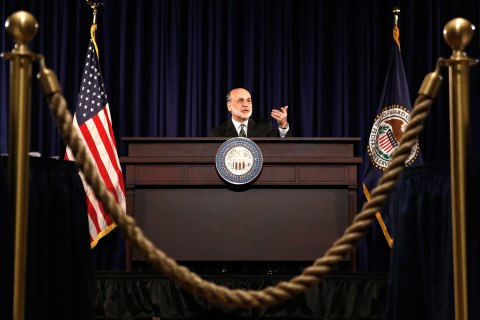U.S. Chairman of the Federal Reserve Bernanke speaks during a news conference in Washington