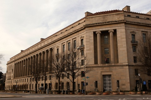 The Justice Department building is seen in Washington
