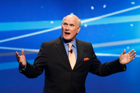 "Terry Bradshaw speaks during a presentation to announce Fox's new sports network ""Fox Sports 1"" in New York,"