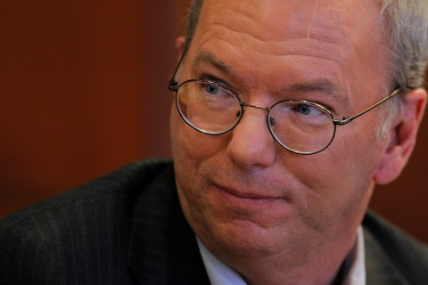 Executive Chairman of Google Eric Schmidt listens to a question at Harvard University in Cambridge