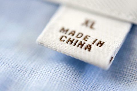 Detail of Made in China label on shirt