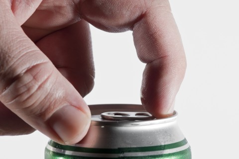 Opening a beer can