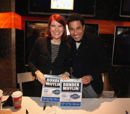 "From left: ""The Office"" Stars Kate Flannery And Oscar Nunez Support Quill.com's launch of Dunder Mifflin Paper in New York City, on December 13, 2011."