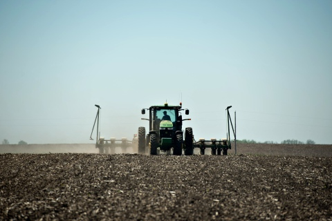 Corn is planted in a field outside in Henry, Ill., U.S., on May 14, 2013.
