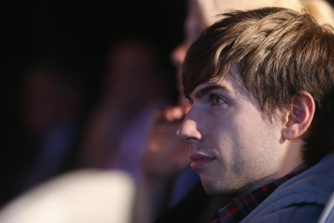 Tumblr founder David Karp watches at a news conference with Yahoo CEO Marissa Mayer about the company's acquisition of Tumblr in Times Square in New York City, on May 20, 2013.