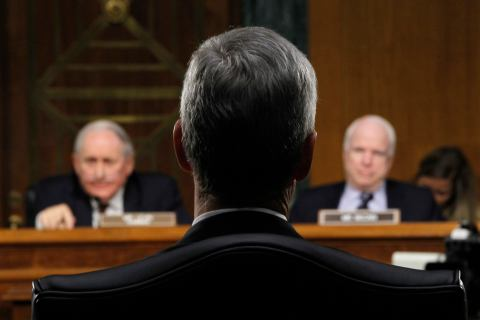 Apple CEO Tim Cook appears before a Senate homeland security and governmental affairs investigations subcommittee hearing on offshore profit shifting and the U.S. tax code, on Capitol Hill in Washington, D.C., on May 21, 2013.