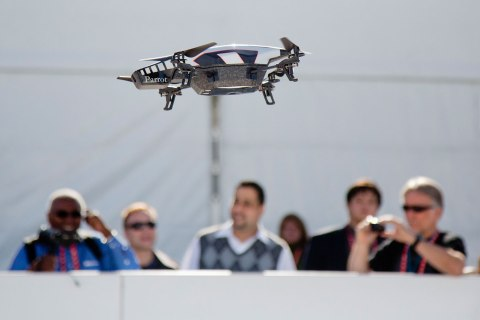 A Parrot AR Drone 2.0 is seen flying during a demonstration at the Consumer Electronics Show, in Las Vegas, on Jan. 9, 2013.