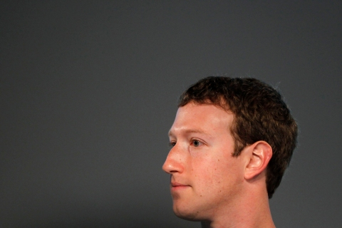 Facebook CEO Mark Zuckerberg looks on during a media event at Facebook headquarters in Menlo Park