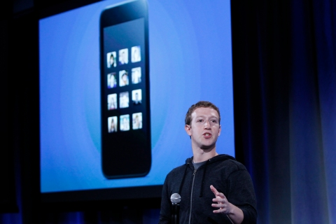 Mark Zuckerberg, Facebook's co-founder and chief executive, introduces 'Home' a Facebook app suite that integrates with Android during a Facebook press event in Menlo Park, Calif., on April 4, 2013.