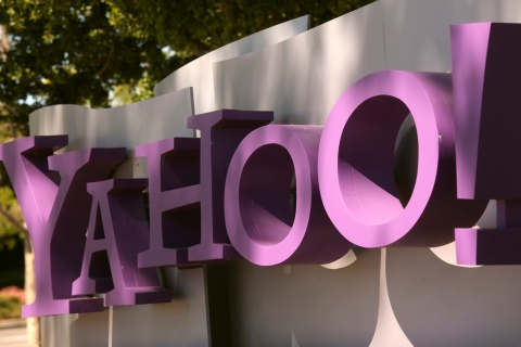 The Yahoo logo at the company's headquarters in Sunnyvale, Calif., on April 16, 2013.
