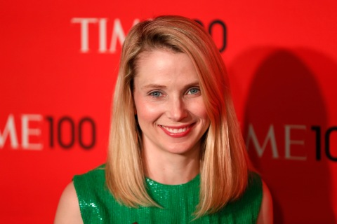 President and CEO of Yahoo, Marissa Mayer, arrives for the Time 100 gala celebrating the magazine's naming of the 100 most influential people in the world for the past year, in New York