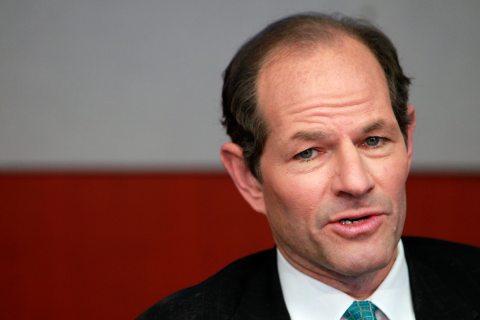 Former New York governor Eliot Spitzer speaks at the Reuters Global Financial Regulation Summit 2010 in New York City, on April 28, 2010.