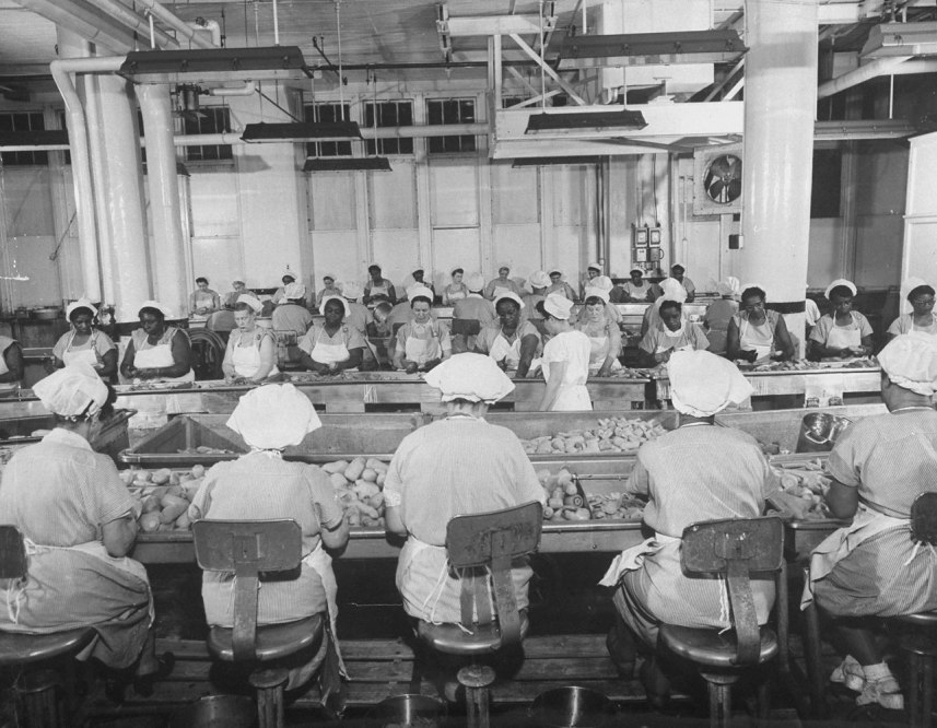 Women working on the production line at the Cambell's Soup plant in Camden, N. J. in 1956.