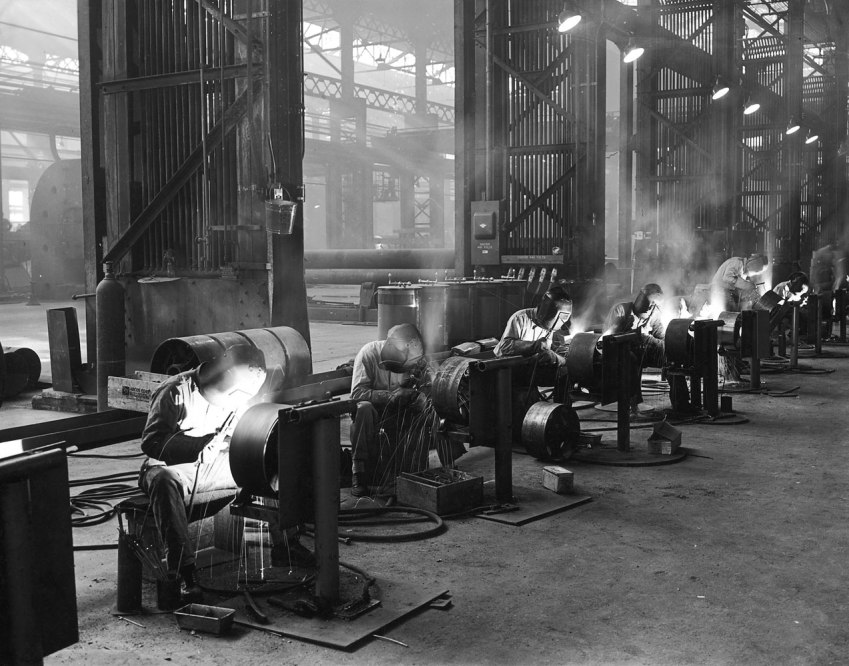 Welders at work in the Sun Shipyards in Philadelphia, circa 1937.